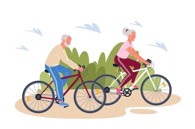 Kreskówka Aktywnych Dorosłych Rodzin Osób, Jazda Na Rowerze Premium Wektorów