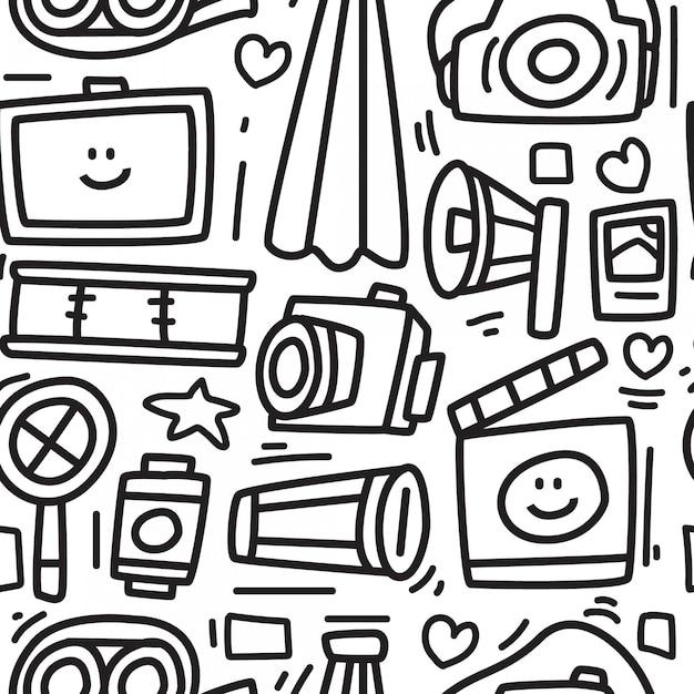 Kreskówka Aparat Doodle Wzór Premium Wektorów