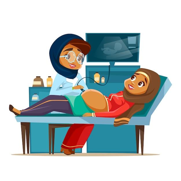Kreskówka Arabski Ultradźwięk Ciąży Przesiewania Koncepcja. Kobieta Lekarz Khaliji Muzułmańskich Darmowych Wektorów
