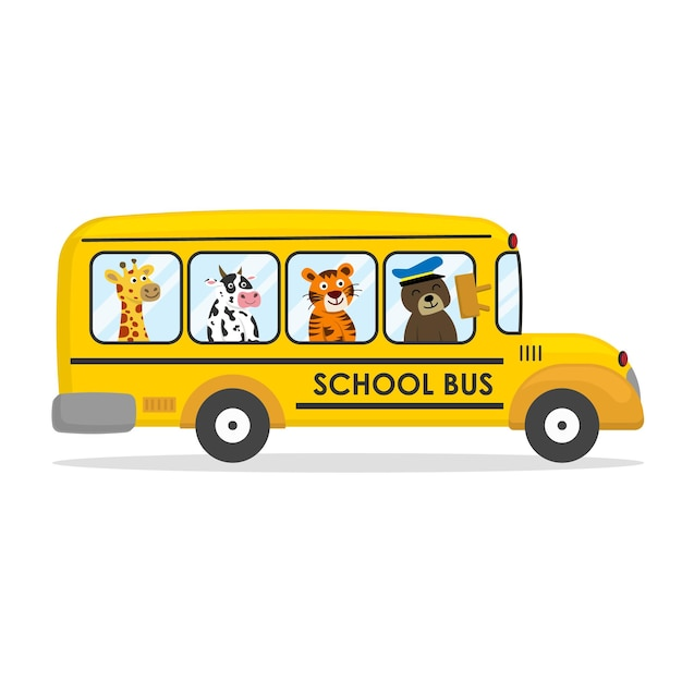 Kreskówka Autobus Szkolny Ze Zwierzętami Premium Wektorów