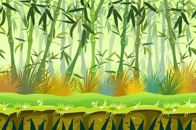 Kreskówka bambusa bezszwowe tło lasu. Premium Wektorów