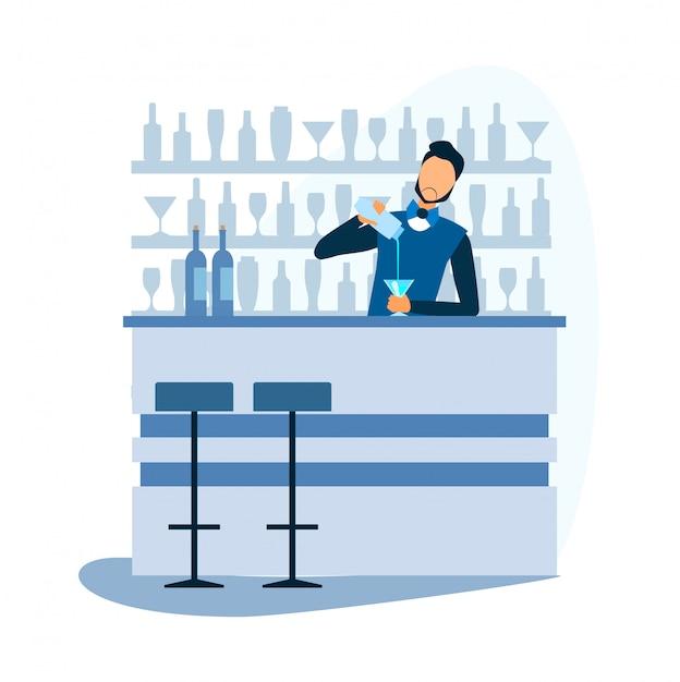 Kreskówka Barman Przygotowuje Koktajl Alkoholowy W Barze Premium Wektorów