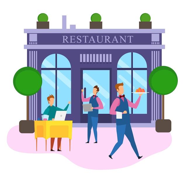 Kreskówka Biznesmen Notatnik Zamówienie Jedzenie Restauracja Premium Wektorów