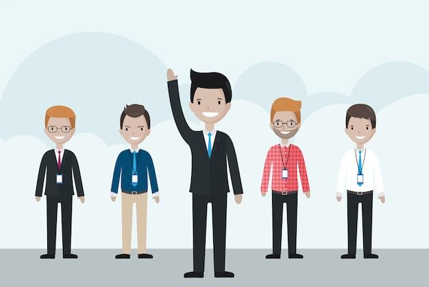 Kreskówka Biznesmen Stoi Przed Grupą, Podnosząc Rękę Do Góry Premium Wektorów
