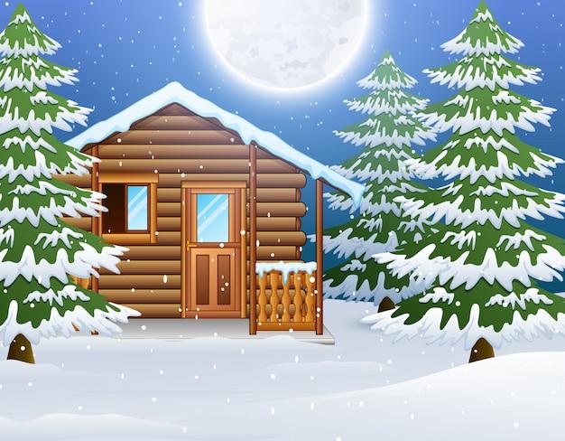Kreskówka bożenarodzeniowy drewniany dom z jedlinowymi drzewami Premium Wektorów