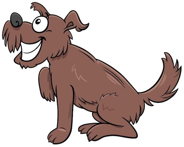 Kreskówka Brązowy Kudłaty Pies Komiks Zwierzęcy Charakter Premium Wektorów