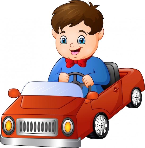Kreskówka Chłopiec Jedzie Samochód Premium Wektorów