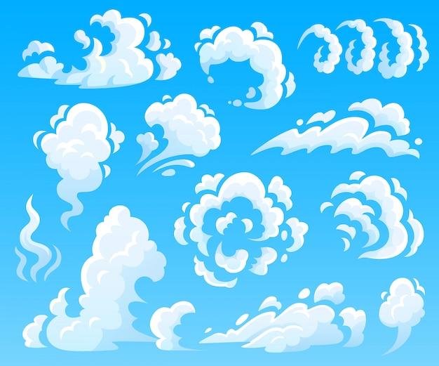 Kreskówka Chmury I Dym. Chmura Pyłu, Ikony Szybkiej Akcji. Kolekcja Ilustracji Na Białym Tle Niebo Premium Wektorów