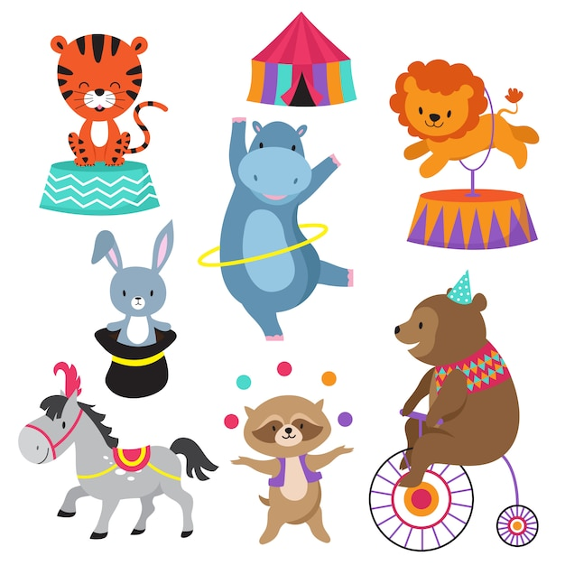 Kreskówka Cyrkowe Zwierzęta Na Dziecięcą Kartę Urodzinową Premium Wektorów