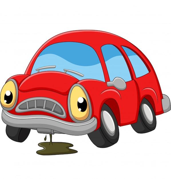 Kreskówka czerwony samochód smutny w potrzebie naprawy Premium Wektorów
