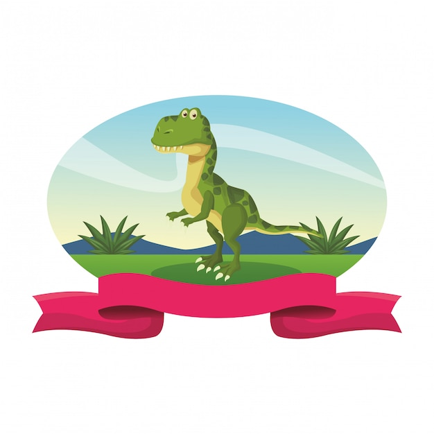 Kreskówka Dinozaur Tyranozaura Premium Wektorów