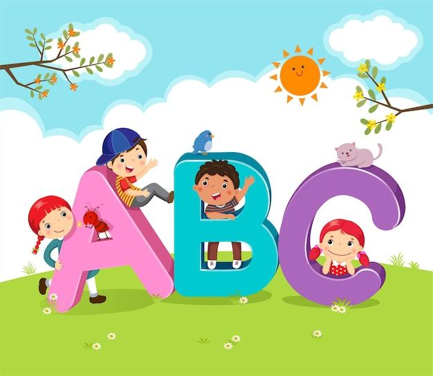 Kreskówka Dla Dzieci Z Literami Abc Premium Wektorów