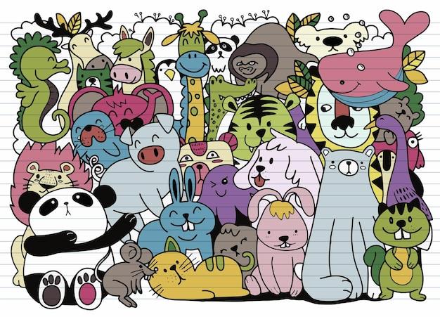 Kreskówka Duży Zestaw Uroczych Doodle Zwierząt. Idealna Na Pocztówkę, Urodzinową Książeczkę Do Pokoju Dziecięcego, Ilustrację Do Kolorowanki, Każda Na Osobnej Warstwie. Premium Wektorów