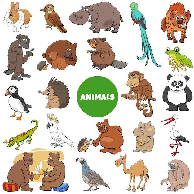 Kreskówka Duży Zestaw Znaków Dzikich Zwierząt Premium Wektorów