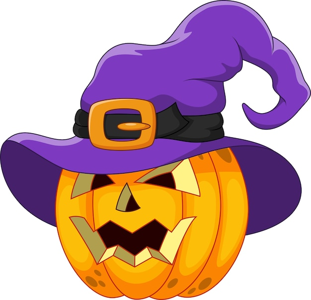 Kreskówka Dynia Halloween W Kapeluszu Czarownicy Premium Wektorów