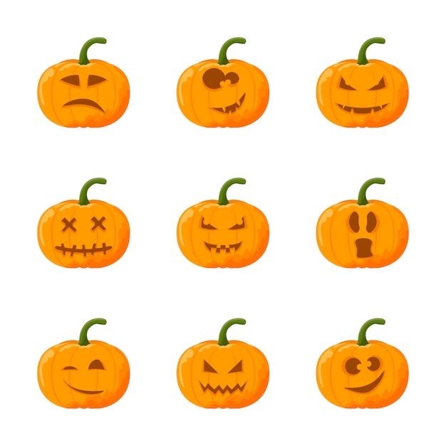 Kreskówka dynia halloween zestaw. zestaw emocji. Premium Wektorów