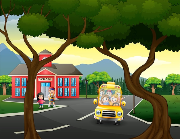 Kreskówka Dzieci Jadą Do Domu Szkolnym Autobusem Premium Wektorów