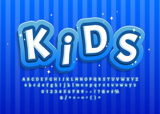 Kreskówka Dziecko Alfabet Niebieski, Efekt Tekstowy Premium Wektorów