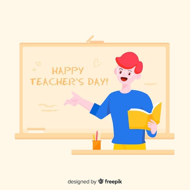 Kreskówka dzień nauczyciela świat tło Darmowych Wektorów