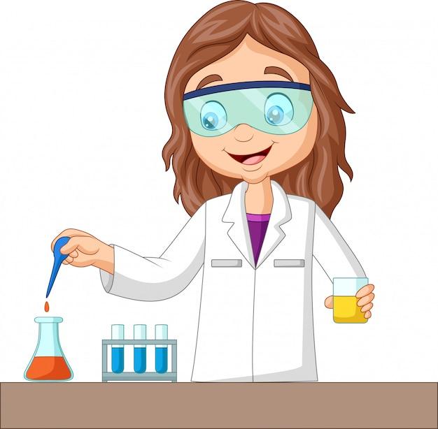 Kreskówka dziewczyna robi eksperyment chemiczny Premium Wektorów