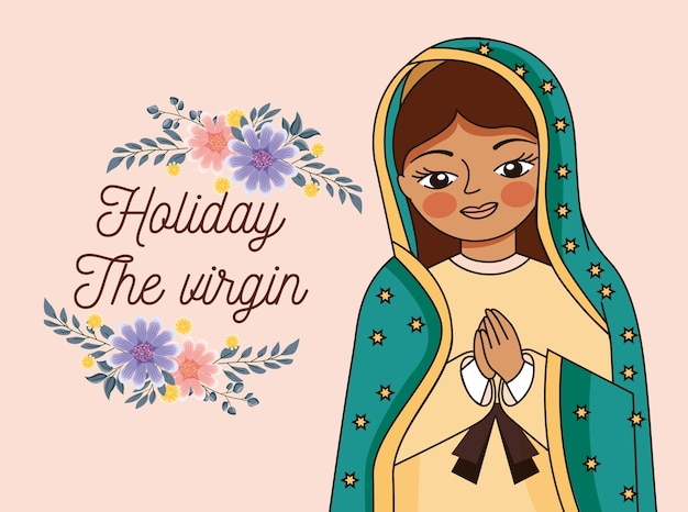 Kreskówka Dziewicy Z Guadalupe Z Rękami Razem Modlącymi Się Premium Wektorów