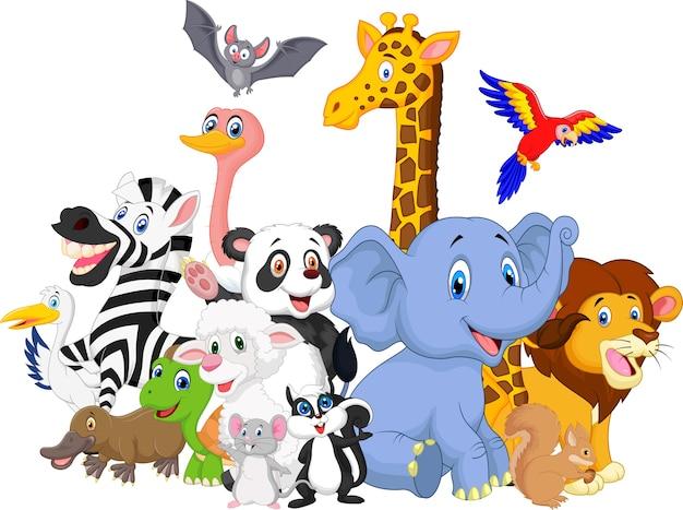 Kreskówka dzikich zwierząt tło Premium Wektorów