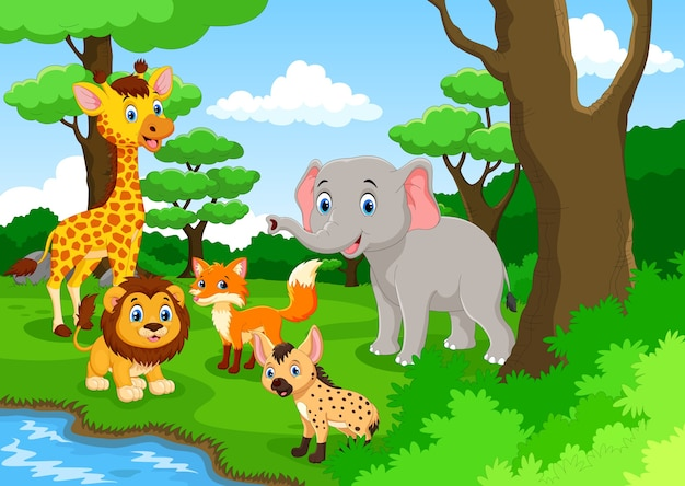 Kreskówka Dzikich Zwierząt Premium Wektorów