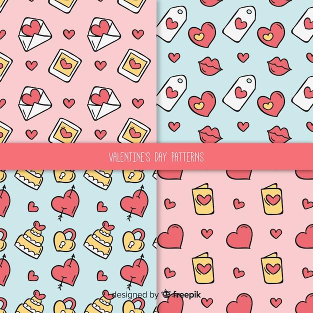 Kreskówka Elementy Wzór Valentine Paczka Darmowych Wektorów
