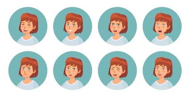 Kreskówka Emocje Damskie. Emocja Twarzy Postaci Kobiecych, Szczęśliwa Uśmiechnięta Kobieta I Wściekła Twarz Portret Wektor Zestaw Ilustracji Premium Wektorów