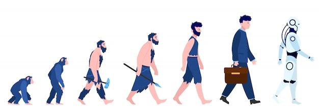 Kreskówka Ewolucja Człowieka Na Białym Tle Mieszkanie Darmowych Wektorów