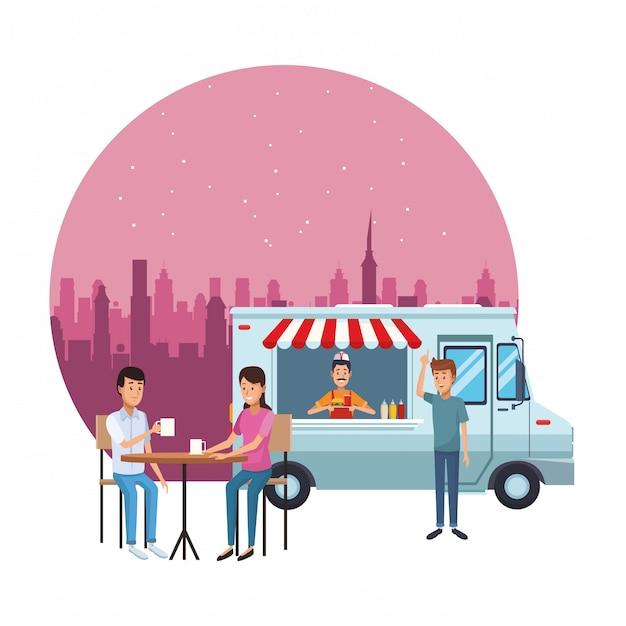 Kreskówka fast food ciężarówka Premium Wektorów