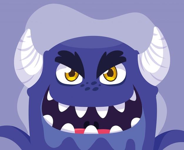 Kreskówka fioletowy potwór Premium Wektorów