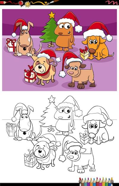 Kreskówka Grupy Psów Na Boże Narodzenie Kolorowanki Książki Premium Wektorów