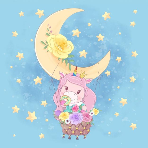 Kreskówka Jednorożca Dziewczyna Na Balonie Księżyca Z Pięknymi Kwiatami Premium Wektorów