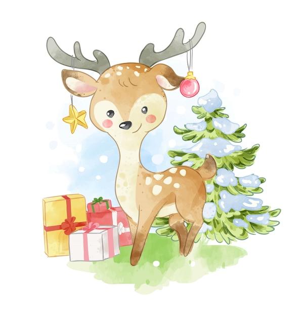 Kreskówka jeleń z prezentami ilustracyjnymi Premium Wektorów