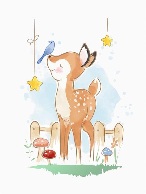 Kreskówka jelenia z małą ilustracją ptaków Premium Wektorów