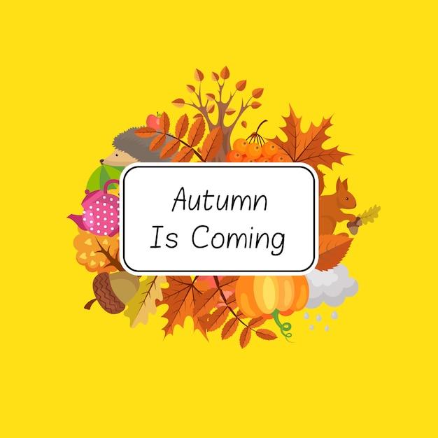 Kreskówka jesień zestaw elementów i liści Premium Wektorów