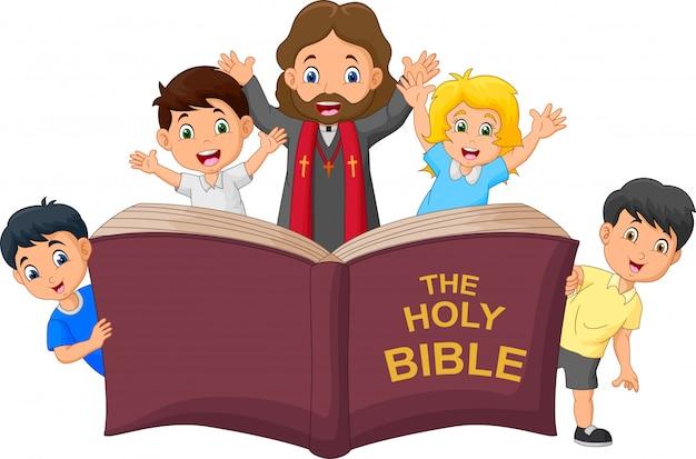 Kreskówka Jezusa Chrystusa Z Dziećmi Premium Wektorów