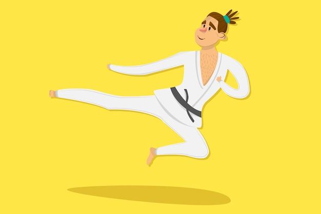 Kreskówka karate mężczyzna jest ubranym kimonowego szkolenie Premium Wektorów