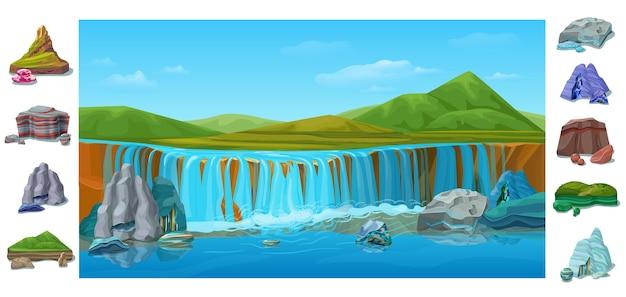 Kreskówka Kolorowy Piękny Krajobraz Przyrody Z Wodospadem Wzgórza Zielone Góry Różne Kamienie I Skały Darmowych Wektorów