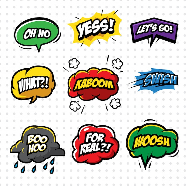 Kreskówka Komiks Efekt Dźwiękowy Bańki Premium Wektorów