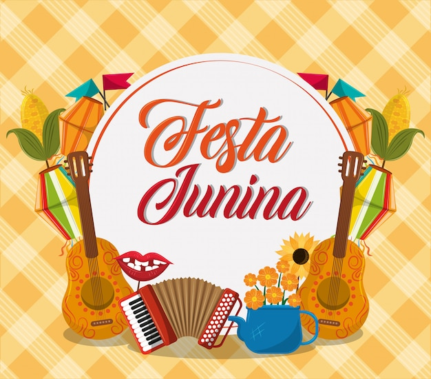 Kreskówka Koncepcja Festa Junina Premium Wektorów