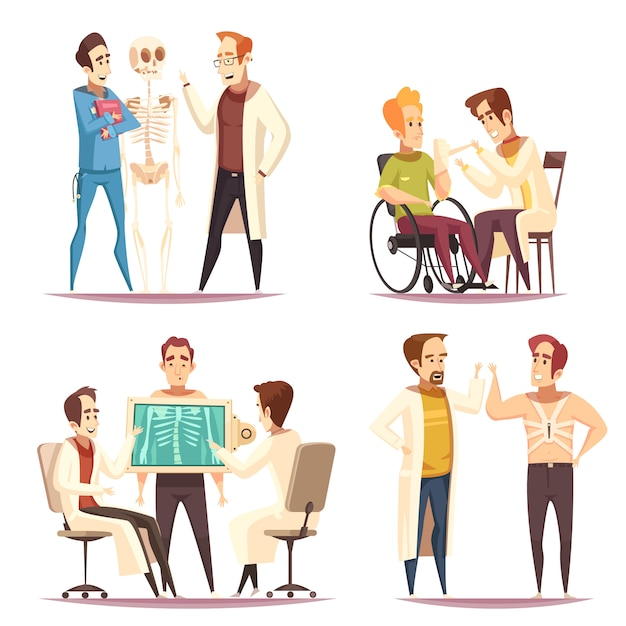 Kreskówka Koncepcja Ortopeda 4 Darmowych Wektorów