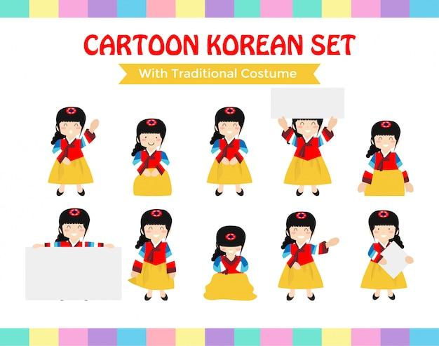 Kreskówka koreański zestaw z tradycyjnym stroju Premium Wektorów