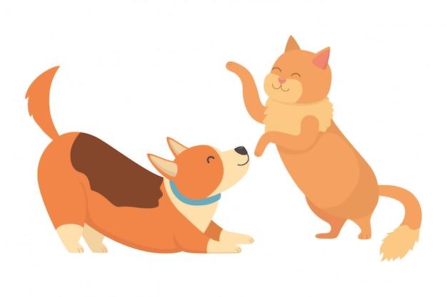 Kreskówka kot i pies Darmowych Wektorów
