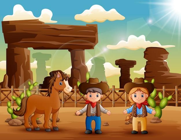 Kreskówka Kowboj I Cowgirl Z Koniem Na Pustyni Premium Wektorów