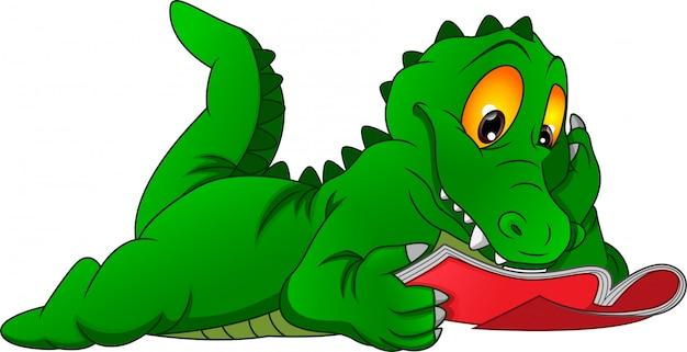 Kreskówka Krokodyl Czytanie Książki Premium Wektorów