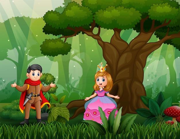Kreskówka Księcia I Księżniczki W Lesie Premium Wektorów