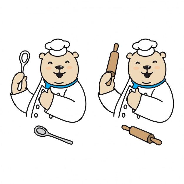 Kreskówka Kucharz Niedźwiedzia Polarnego Premium Wektorów