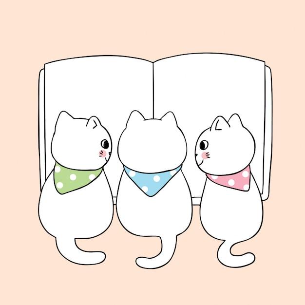 Kreskówka ładny powrót do szkoły kot czytanie książki. Premium Wektorów